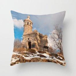 Winter Gettysburg Castle Throw Pillow