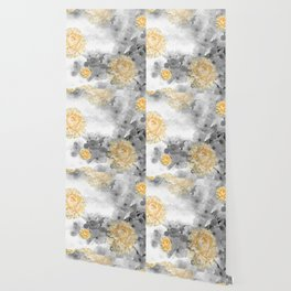 CHERRY BLOSSOMS AND YELLOW ROSES Wallpaper