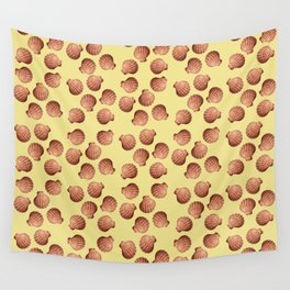 Yellow small Clams Illustration pattern Wall Tapestry