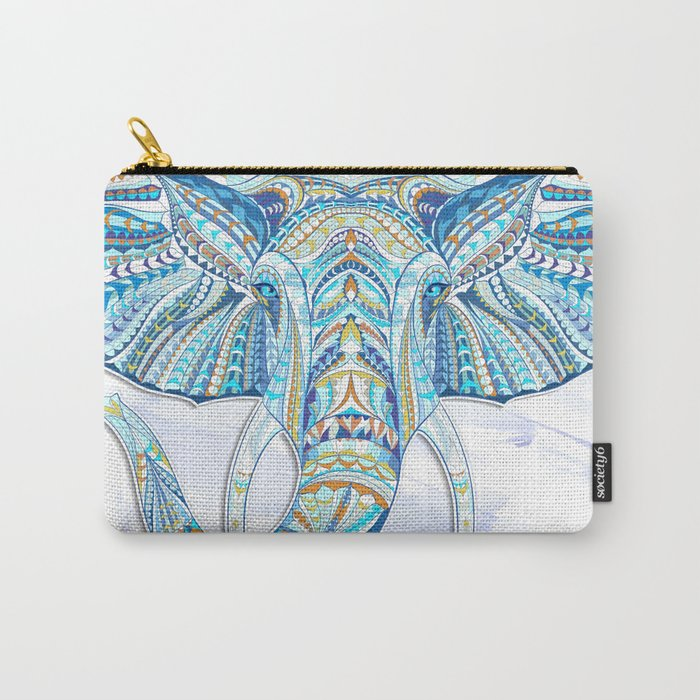 Blue Ethnic Elephant Carry-All Pouch