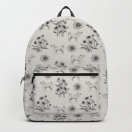 CHIHUAHUA DOGS & SUNFLOWERS Monochrome Gray pattern Backpack