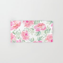 Watercolor Peonie with greenery Hand & Bath Towel
