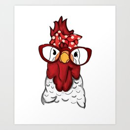 Rooster Hen Chicken Bandana and Glasses Farmer Shirt   Chicken Lady Gift Art Print