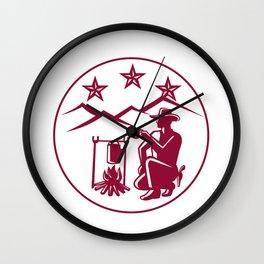 Cowboy Drink Coffee Campfire Circle Wall Clock