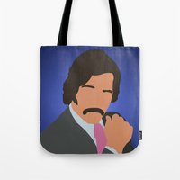 anchorman Tote Bags featuring Brian Fantana - Anchorman by Tom Storrer