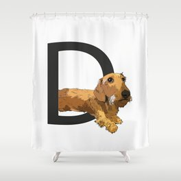 D is for Dachshund Shower Curtain