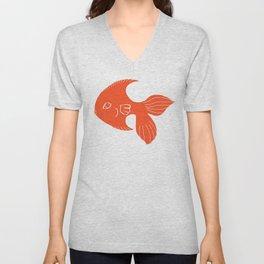 Orange Fish Art Unisex V-Neck
