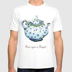 Once Upon A Teapot White Mens Fitted Tee MEDIUM
