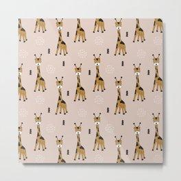 Arrows and baby giraffe illustration pattern Metal Print