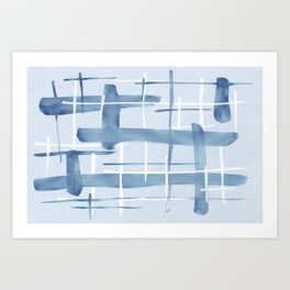 Abstract Lines Blue and White 07 Art Print