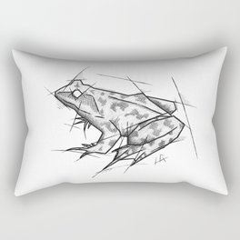 Frog Handmade Drawing, Made in pencil, charcoal and ink, Tattoo Sketch, Tattoo Flash, Sketch Rectangular Pillow