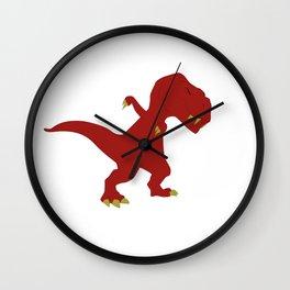 Funny Red Dabbing T-Rex Jurassic Jura Dinosaur Design Wall Clock