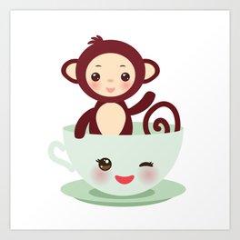 Cute Kawai pink cup with brown monkey Art Print