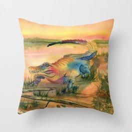 Alligator at Sunset  Throw Pillow