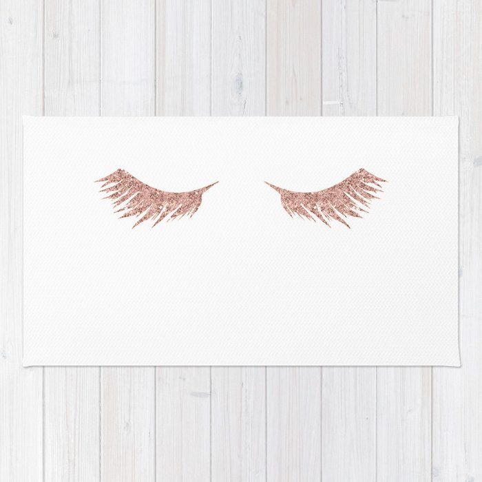 Pretty Lashes Rose Gold Glitter Pink Rug