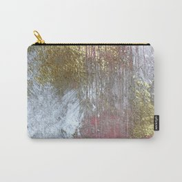 Golden Girl: a pretty abstract mixed media piece in pink, white, gold, and gray Carry-All Pouch