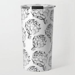Artichokes. Monochrome black and white pattern. Sketch style vegetables artichokes on a white backgr Travel Mug