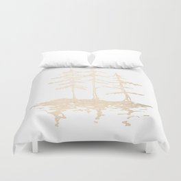 Three Sisters Forest White Gold Trees Duvet Cover