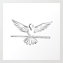Soaring Dove Clutching Staff Front Drawing Art Print