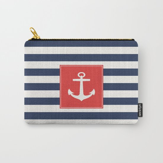 Anchor on blue and white stripes Carry-All Pouch