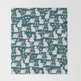 Romantic cat pattern Throw Blanket