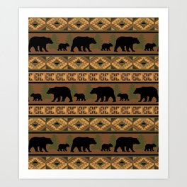 Black Bear and Cub Art Print