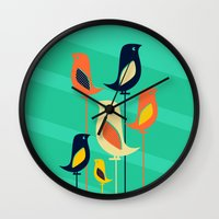 mid century Wall Clocks featuring Mid Century Birds by Sam Osborne