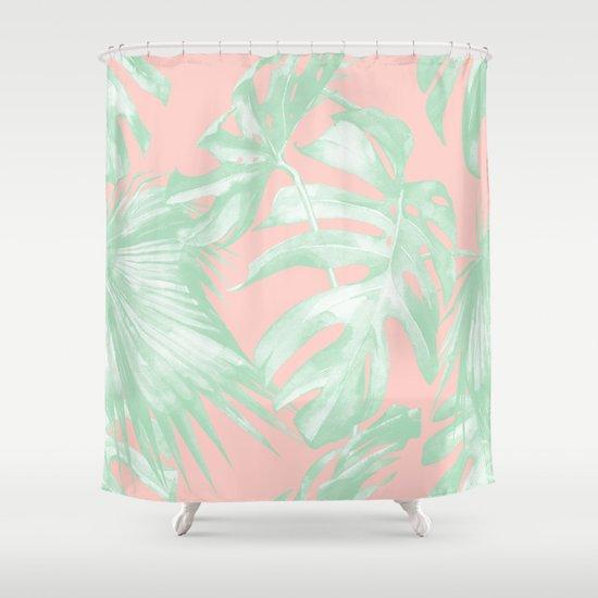Island love seashell pink light green shower curtain by for Light pink shower curtain