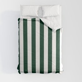 Narrow Vertical Stripes - White and Deep Green Comforters