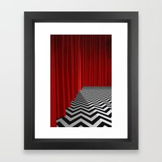 Twin Peaks Black Lodge with Chevron Floor and Red Curtains  Framed Art Print