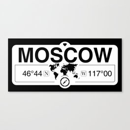 MoscowIdaho Map GPS Coordinates Artwork with Compass Canvas Print