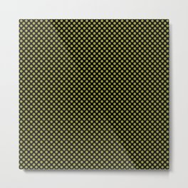 Black and Golden Lime Polka Dots Metal Print