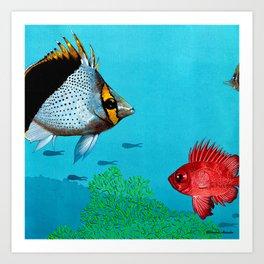 Butterfly & Bigeye fishes Art Print