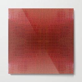 CrocLeather Red Metal Print