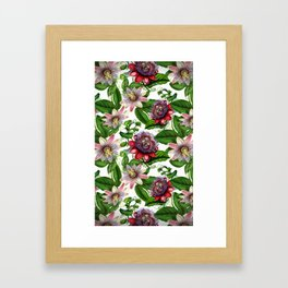 Vintage & Shabby Chic- Retro Passiflora Pattern Framed Art Print