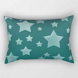 Teal Green Ombre Floating Stars and Herringbone Rectangular Pillow