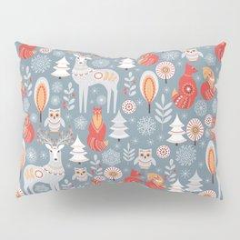 Fairy forest, deer, owls, foxes. Decorative pattern in Scandinavian style. Folk art. Pillow Sham