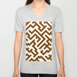 White and Chocolate Brown Diagonal Labyrinth Unisex V-Neck