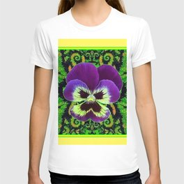 Yellow Color Purple PANSY Green Garden art T-shirt