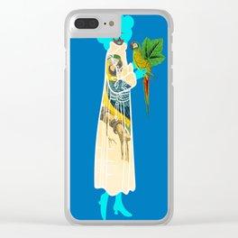 Bird Coat Blue Clear iPhone Case