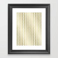 Tribal Stripes Gold Framed Art Print