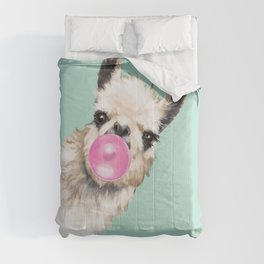 Bubble Gum Sneaky Llama in Green Comforters
