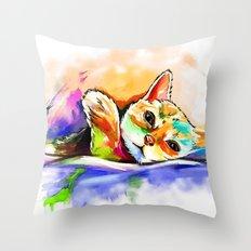 Color Cat Throw Pillow