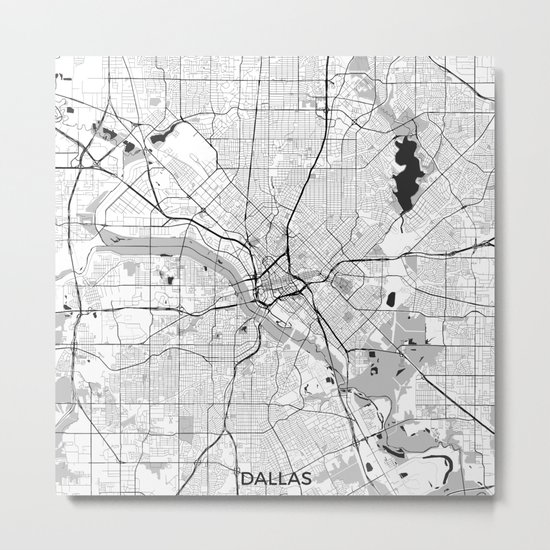 Dallas Map Gray Metal Print