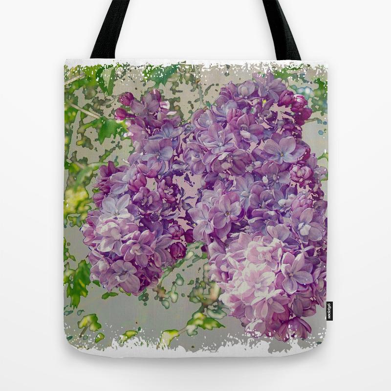 Vintage Double Lilac Tote Bag by Woolgatheringfancies TBG8932110
