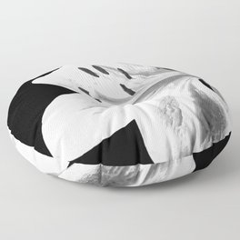 White Lily Black Background Floor Pillow
