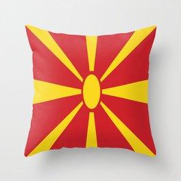 Flag of Macedonia - Macedonian,skopje,Bitola,Kumanovo,Prilep,Balkan,Alexander the great,Karagoz,red Throw Pillow