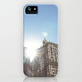 The Sun Piercing the Chicago City Skyline iPhone Case