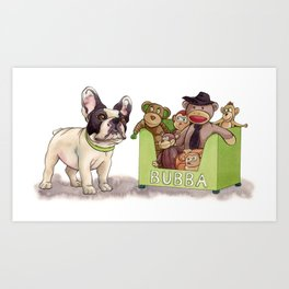 Bubba and His Monkey Toys Art Print
