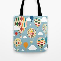 ballon Tote Bags featuring hot air ballon by BruxaMagica_susycosta